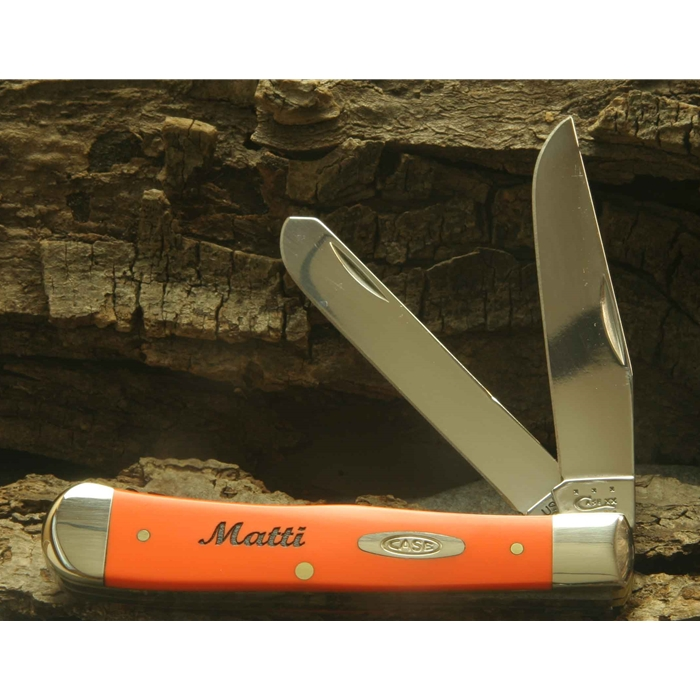 Orange Handle Trapper 80500 Engravable